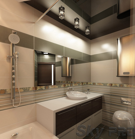 Глянцевый натяжной потолок в ванной комнате